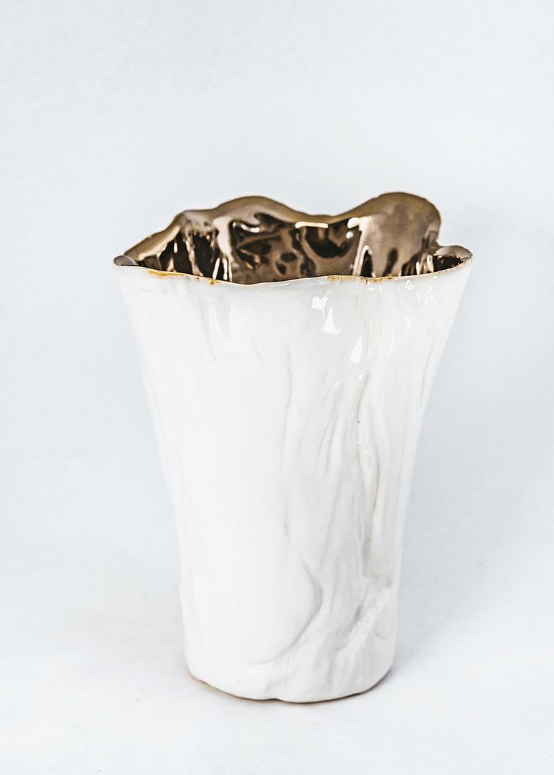 Bronze & White Vase