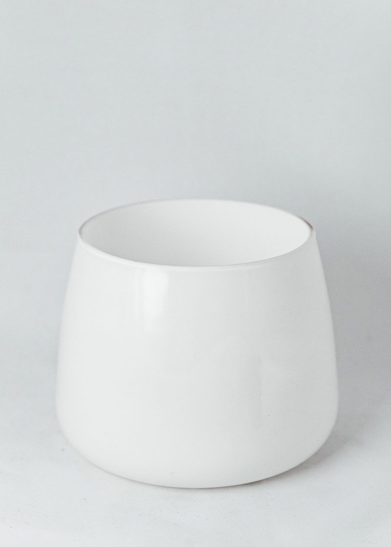 White Glass Planter