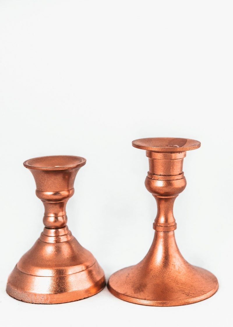 Medium Metallic Candlestick-gold, Copper, Silver Or Black
